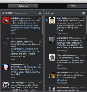 Following #IATEFL on tweetdeck